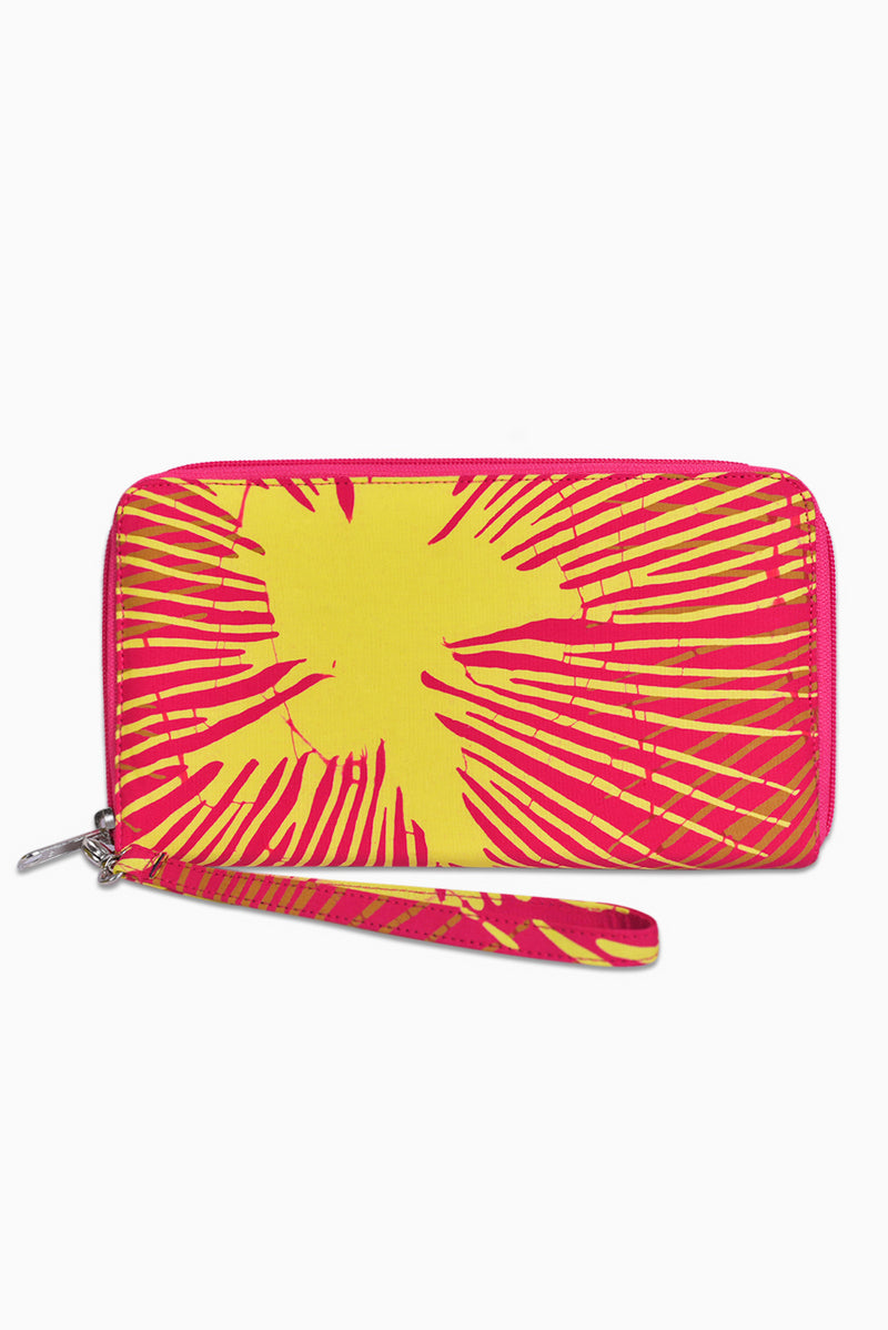 Pink, Yellow & Brown (Guava) -  Handmade Batik Passport Wallet - Starburst Design