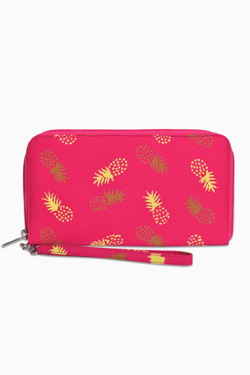 Pink, Yellow & Brown (Guava) - Handmade Batik Passport Wallet - Pineapple Design