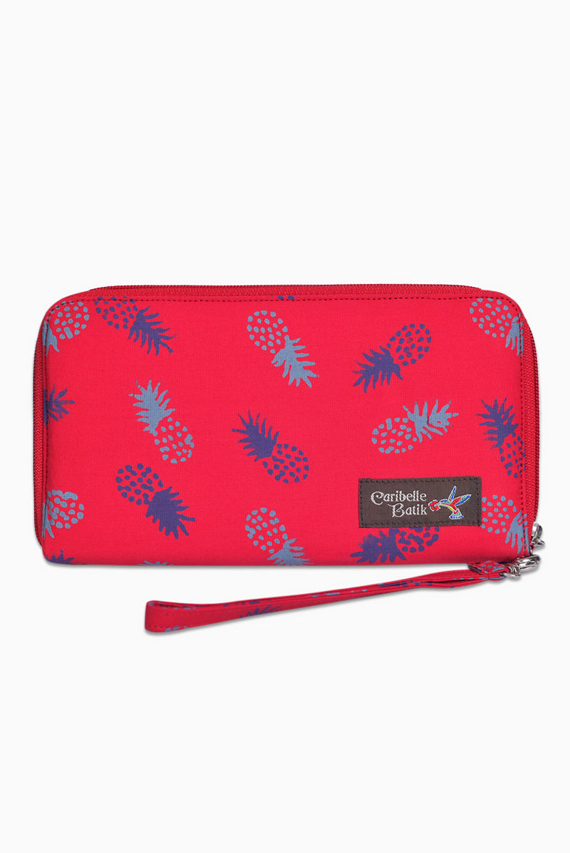 Pink, Purple & Grey (Watermelon) -  Handmade Batik Passport Wallet - Pineapple Design