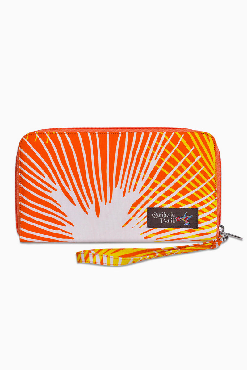 Orange, Yellow & White (Sunset) - Handmade Batik Passport Wallet - Starburst Design