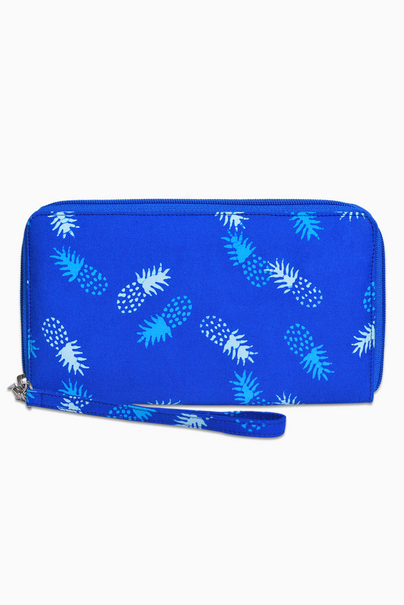Blue & White (Sky) -  Handmade Batik Passport Wallet - Pineapple Design