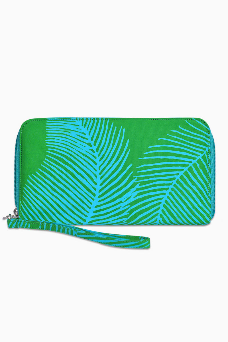 Green & Turquoise (Reef) -  Handmade Batik Passport Wallet - Palm Design