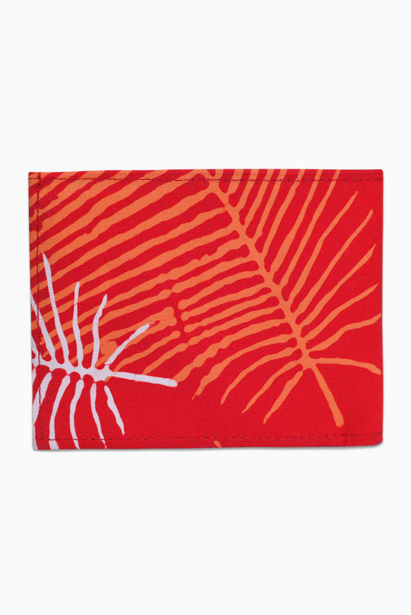 Red, Orange & White (Pomegranate) - Handmade Batik Wallet - Palm Design