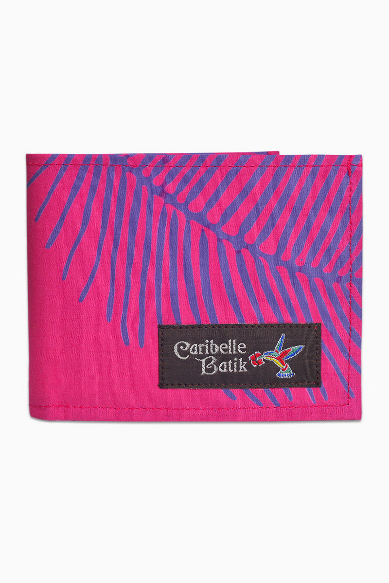 Pink, Purple & Grey (Bougainvillea) - Handmade Batik Wallet - Palm Design