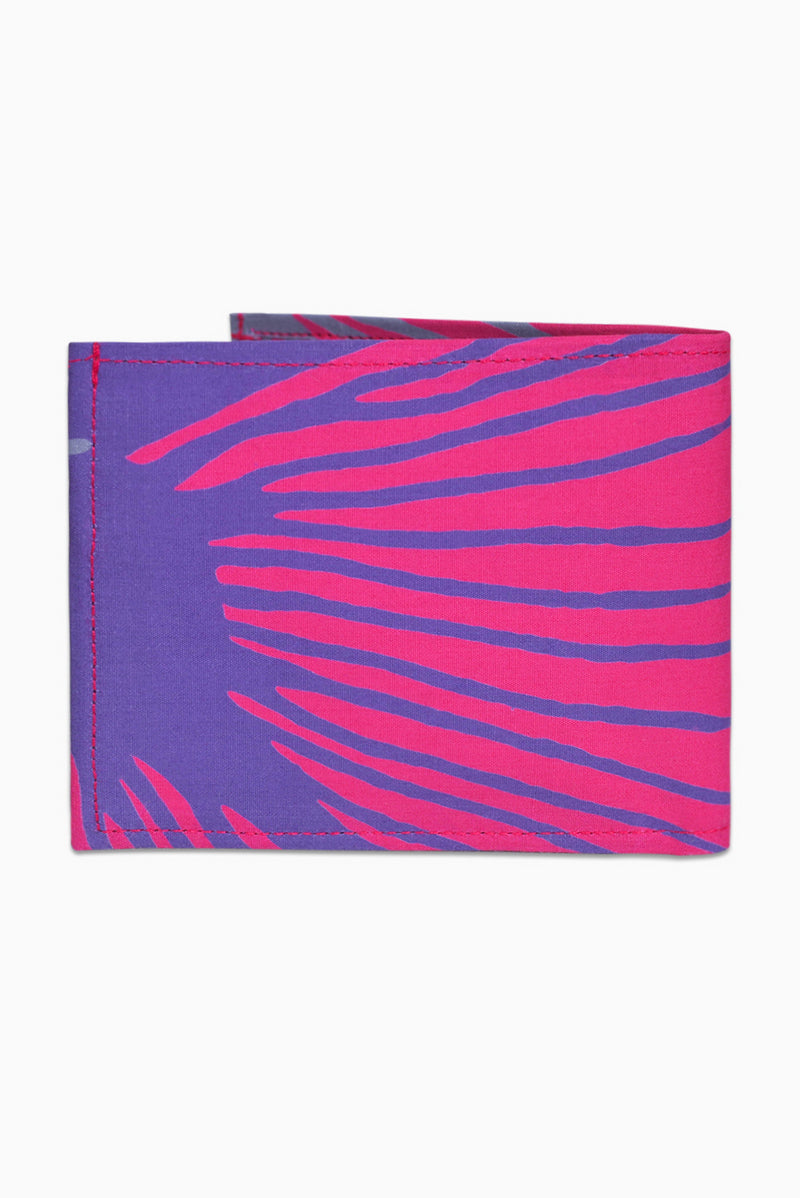 Pink, Purple & Grey (Bougainvillea) - Handmade Batik Wallet - Starburst Design