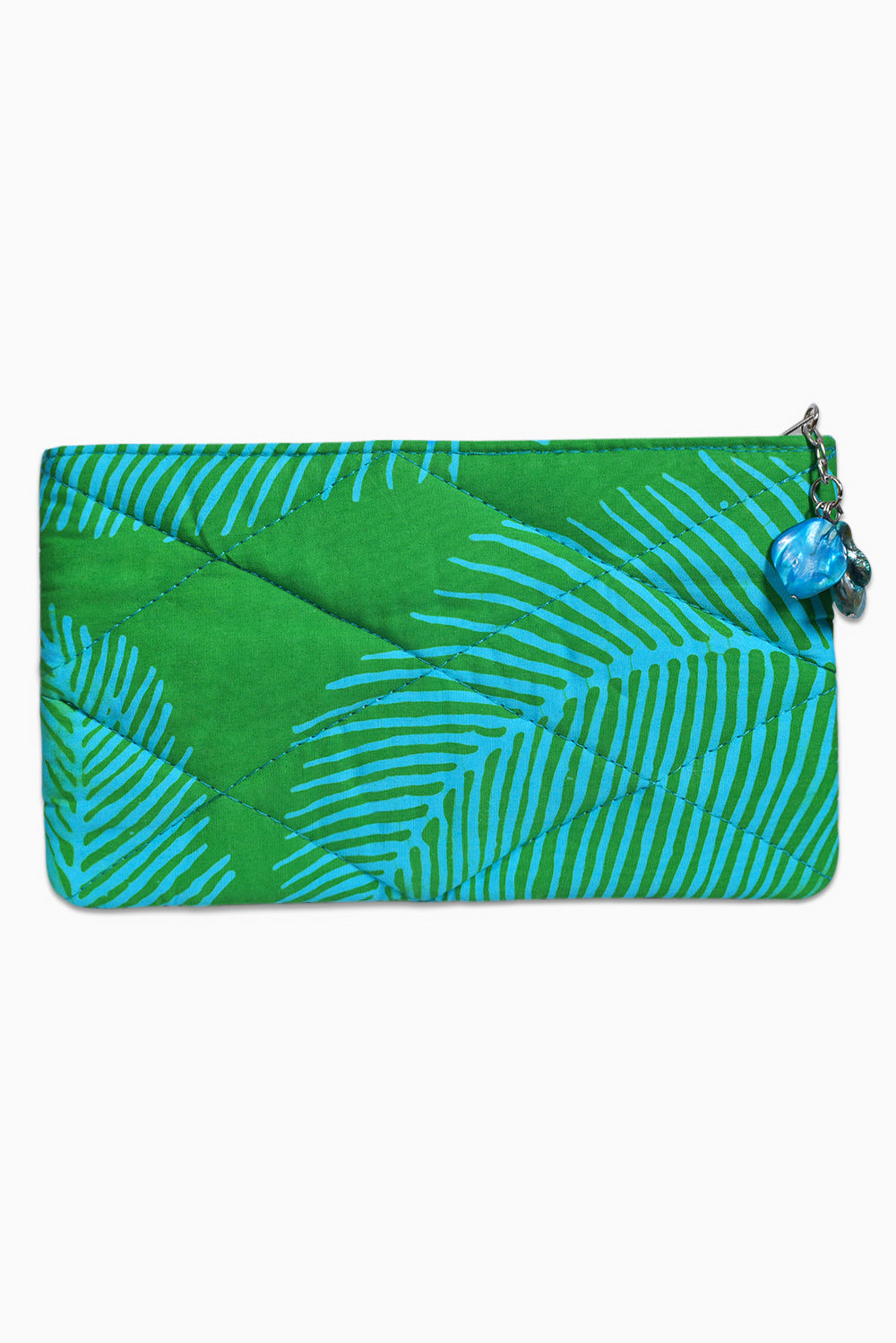 Green & Turquoise (Reef) - Handmade Batik Cosmetic Purse - Palm Design