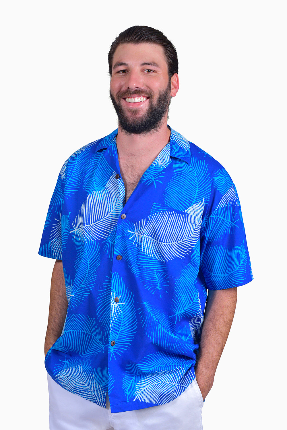 Blue & White (Sky) - Handmade Batik Men's Shirt - Palm Design