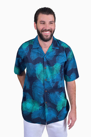 Navy & Turquoise (Ocean) - Handmade Batik Men's Shirt - Palm Design
