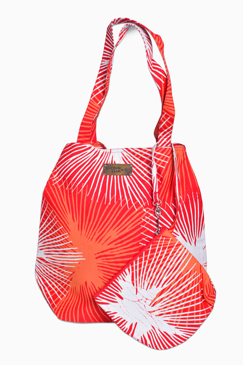 Red, Orange & White (Pomegranate) - Handmade Batik Tote Bag - Starburst Design