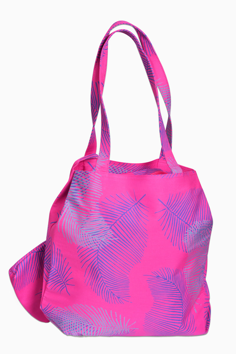 Pink, Purple & Grey (Bougainvillea) - Handmade Batik Tote Bag - Palm Design