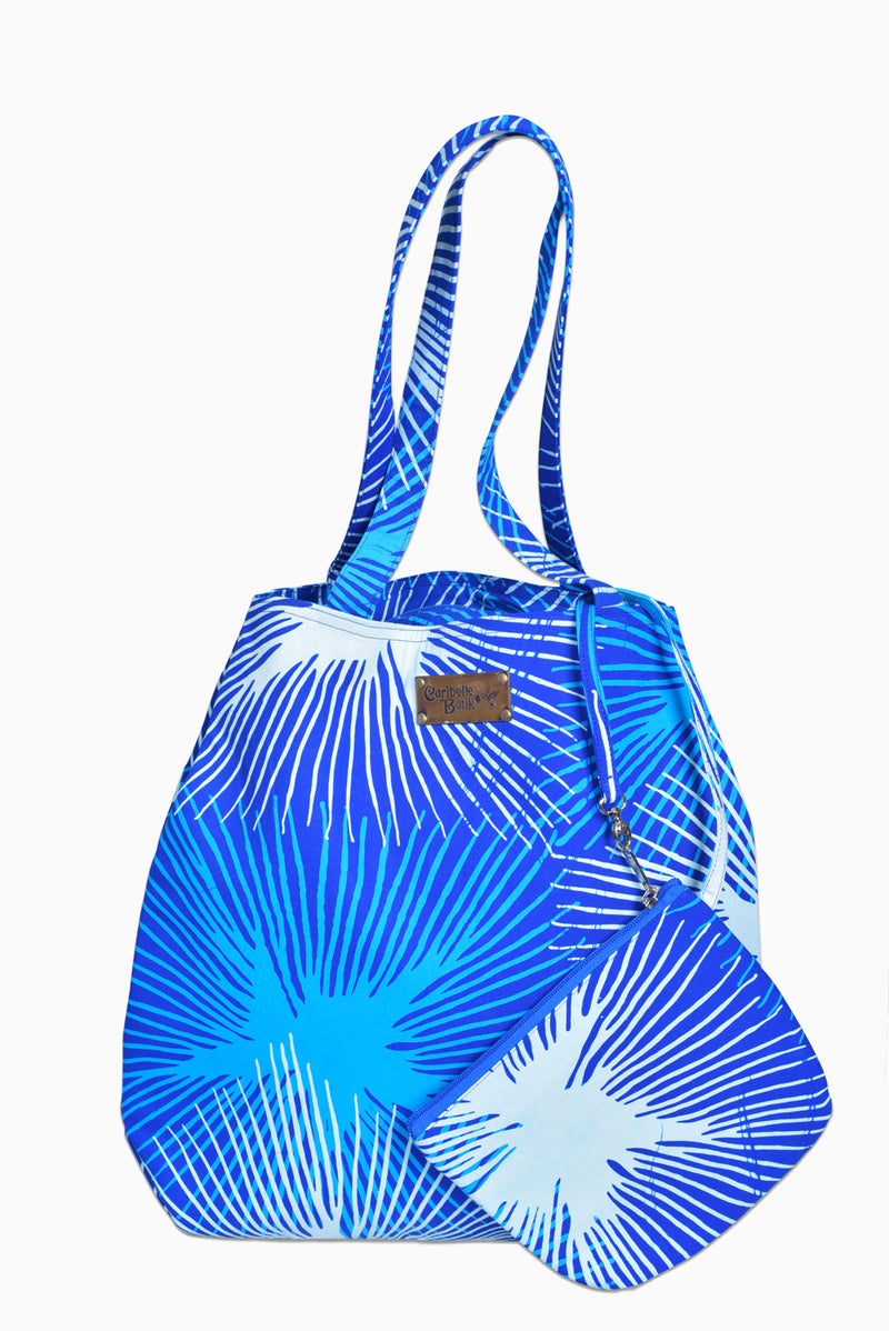 Blue & White (Sky) - Handmade Batik Tote Bag - Starburst Design