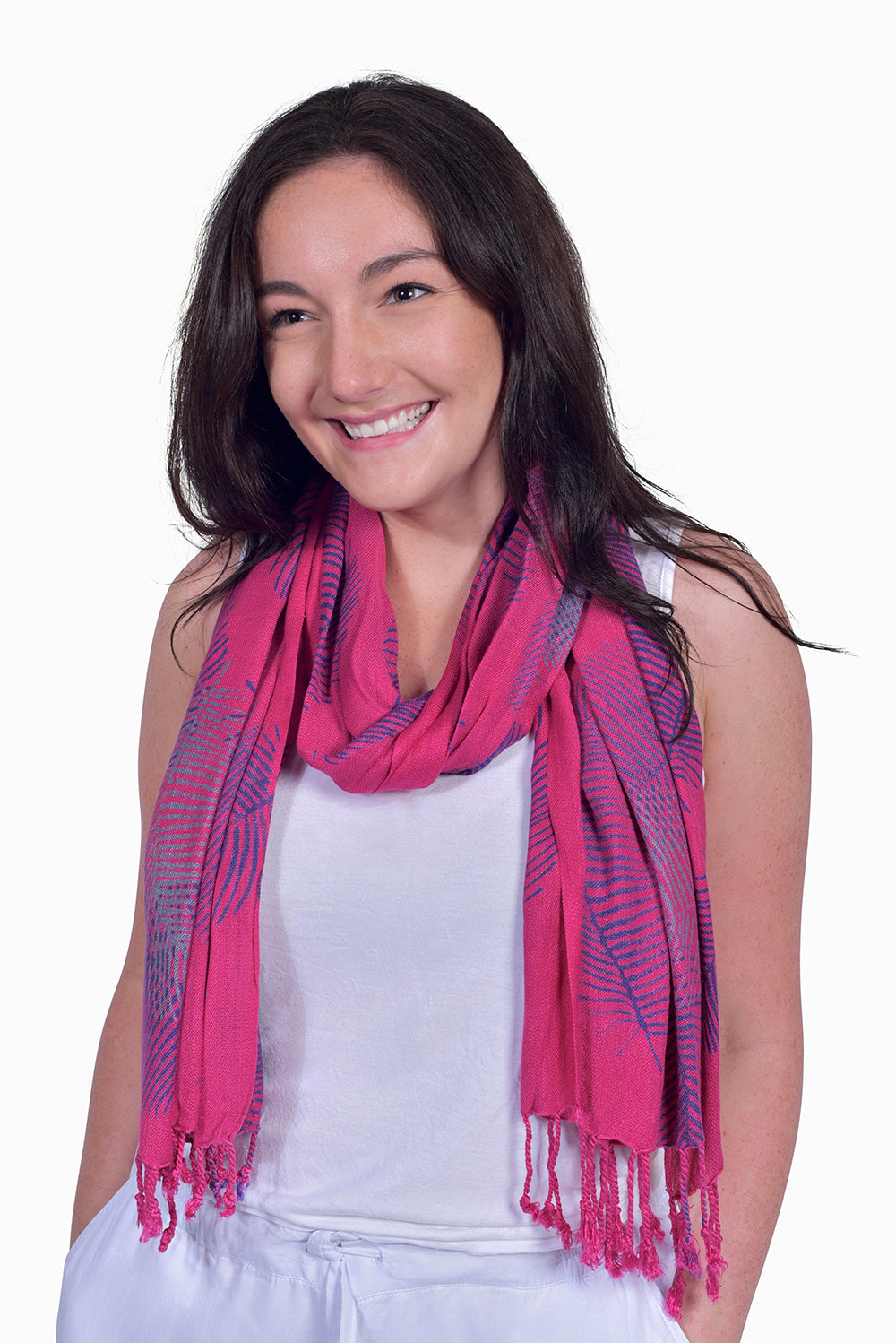 Pink, Purple & Grey (Bougainvillea) - Handmade Batik Tissue Scarf - Palm Design