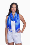 Blue & White (Sky) - Handmade Batik Tissue Scarf - Palm Design