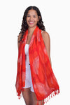 Red, Orange & White (Pomegranate) - Handmade Batik Tissue Scarf - Palm Design