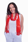 Red, Orange & White (Pomegranate) - Handmade Batik Tissue Scarf - Starburst Design