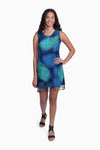 Navy & Turquoise (Ocean) -  Handmade Batik Tank Frill Dress - Palm Design