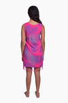 Pink, Purple & Grey (Bougainvillea) -  Handmade Batik Tank Frill Dress - Palm Design