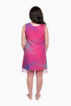 Pink, Purple & Grey (Bougainvillea) -  Handmade Batik Tank Frill Dress - Starburst Design