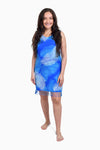 Blue & White (Sky) -  Handmade Batik Tank Frill Dress - Palm Design