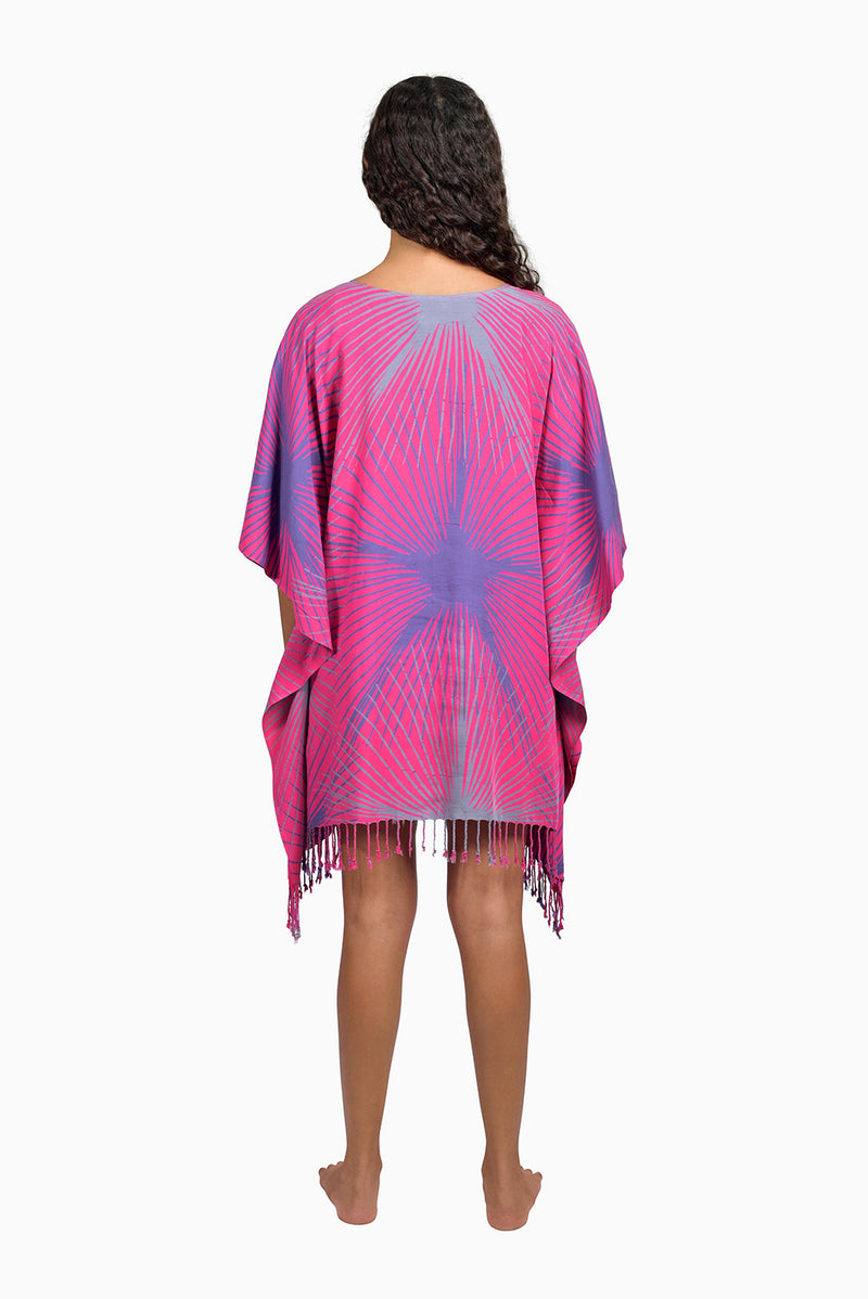 Pink, Purple & Grey (Bougainvillea) - Handmade Batik Cover Up