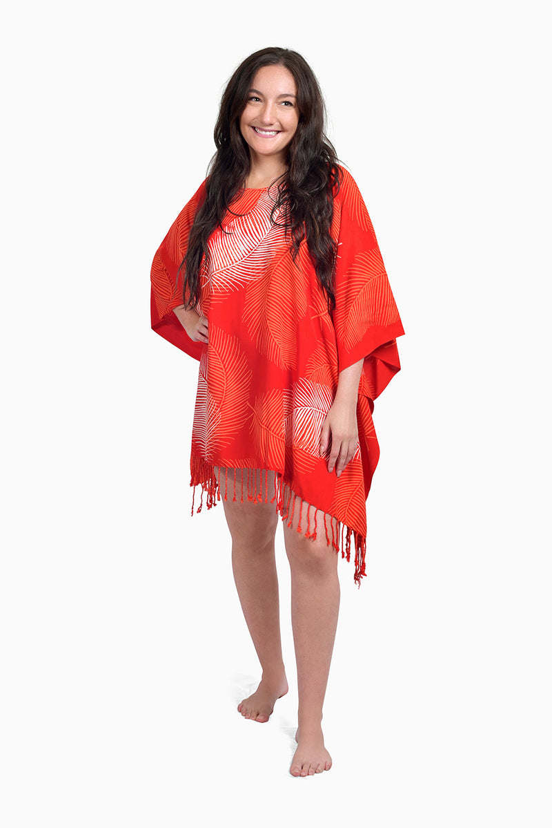 Red, Orange & White (Pomegranate) - Handmade Batik Cover Up