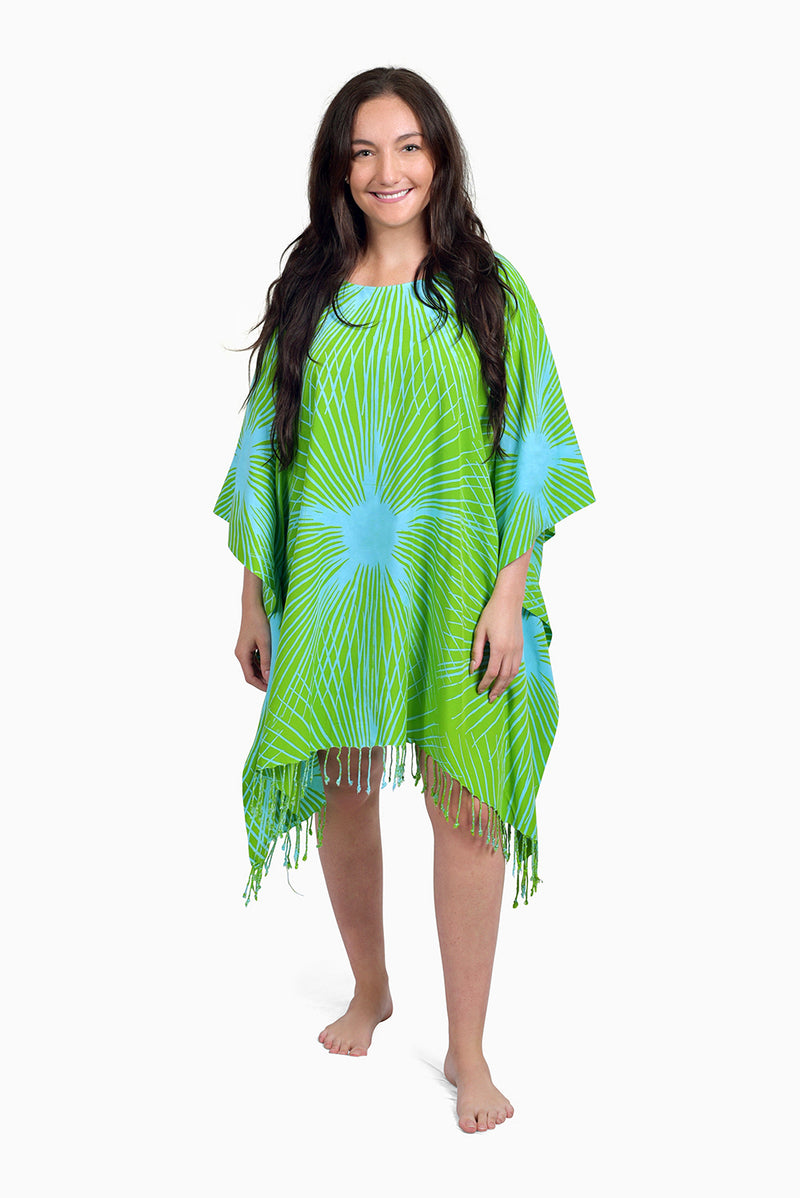 Green & Turquoise (Reef) - Handmade Batik Cover Up