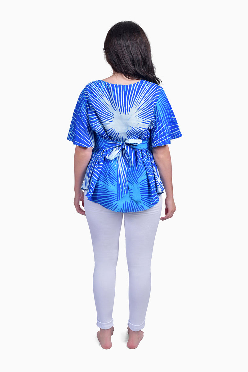 Blue & White (Sky) - Handmade Batik Top - Starburst Design