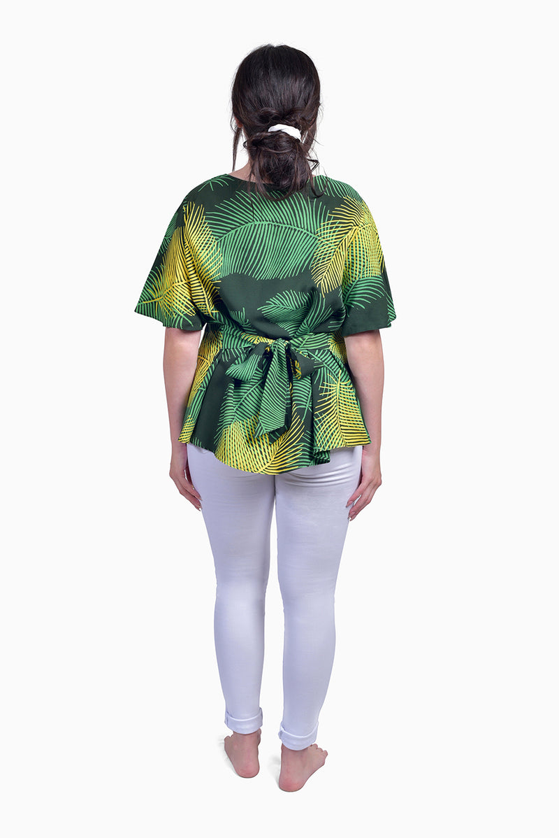 Green & Yellow (Seaweed) -  Handmade Batik Top - Palm Design