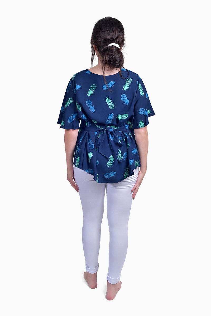 Navy & Turquoise (Ocean) -  Handmade Batik Top - Pineapple Design