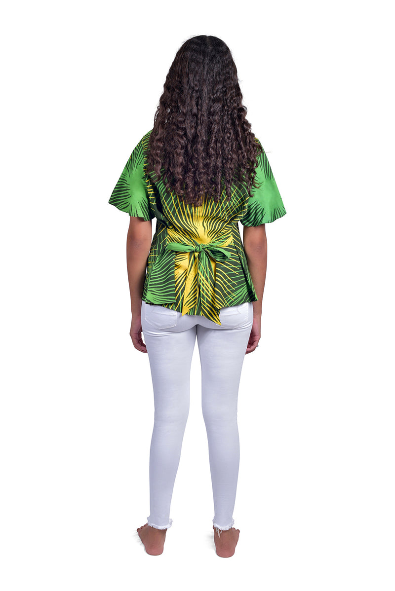 Green & Yellow (Seaweed) -  Handmade Batik Top - Starburst Design