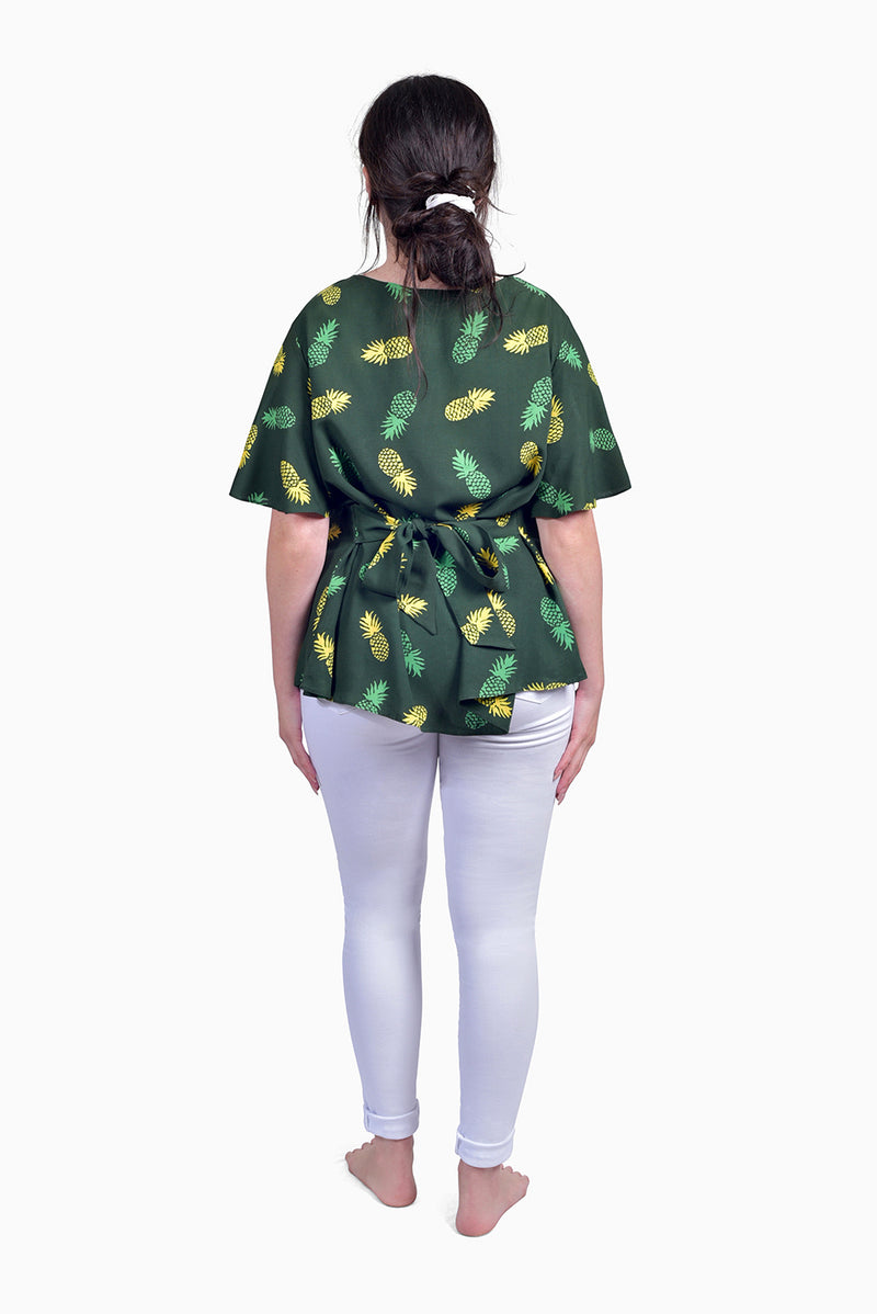 Green & Yellow (Seaweed) -  Handmade Batik Top - Pineapple Design