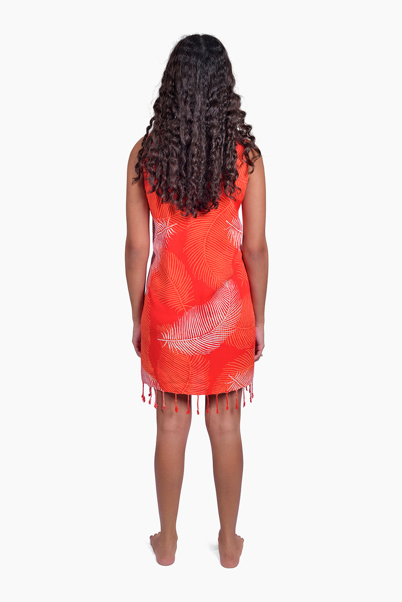 Red, Orange & White (Pomegranate) -  Handmade Batik Tank Frill Dress - Palm Design
