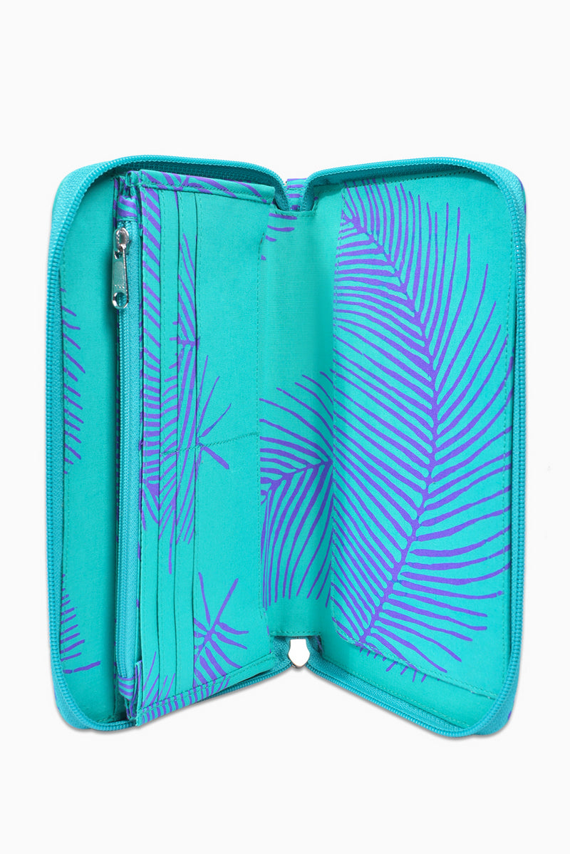 Turquoise & Purple (Hummingbird) -  Handmade Batik Passport Wallet - Palm Design