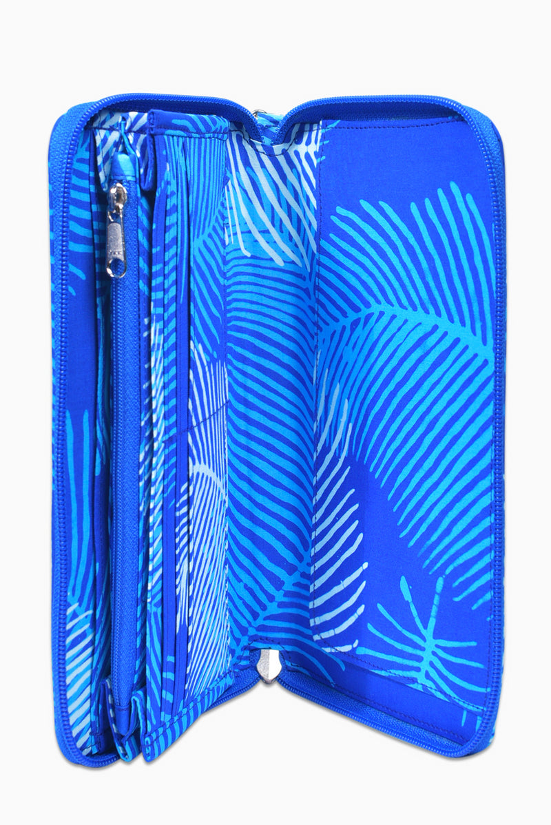 Blue & White (Sky) -  Handmade Batik Passport Wallet - Palm Design