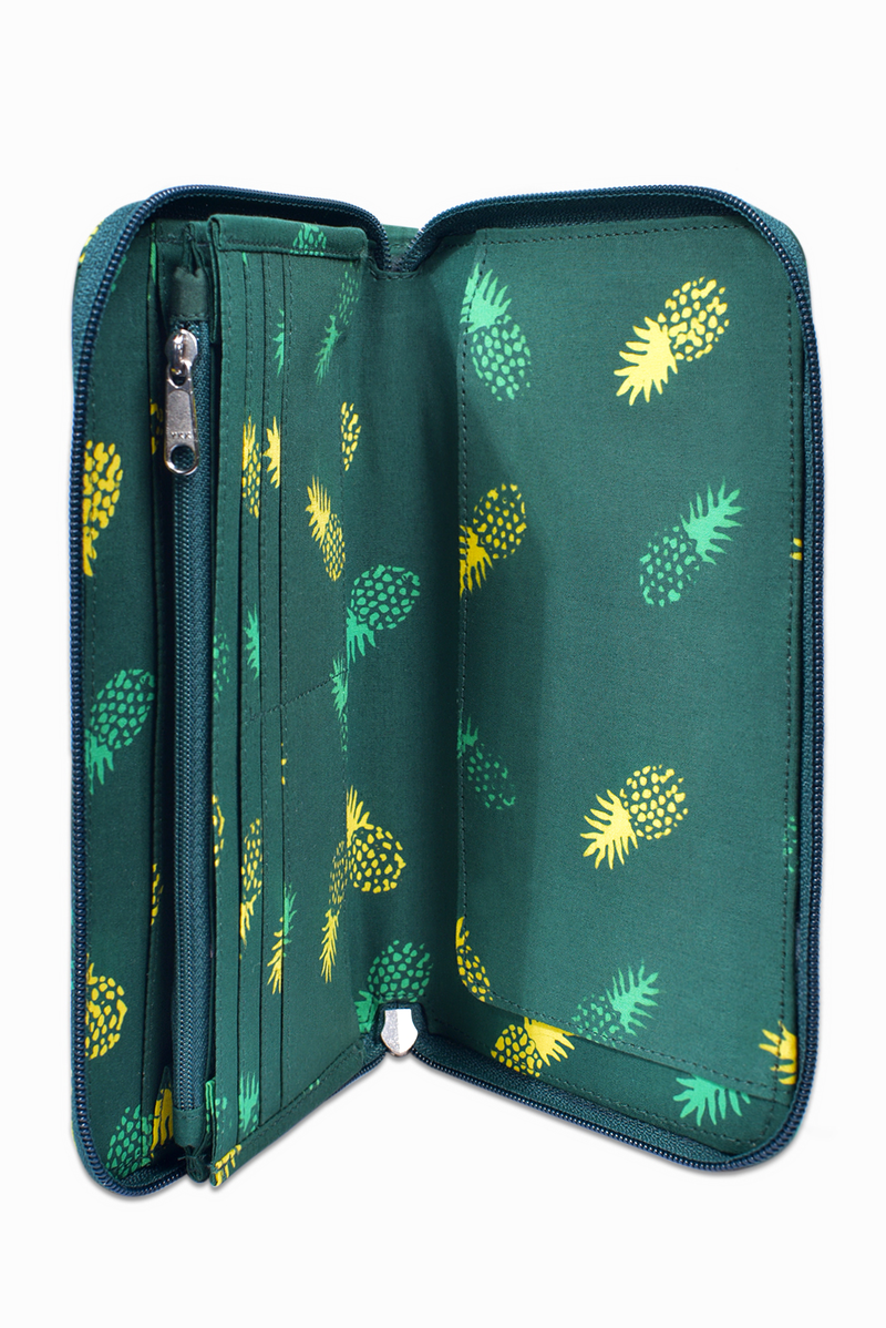 Green & Yellow (Seaweed) - Handmade Batik Passport Wallet - Pineapple Design