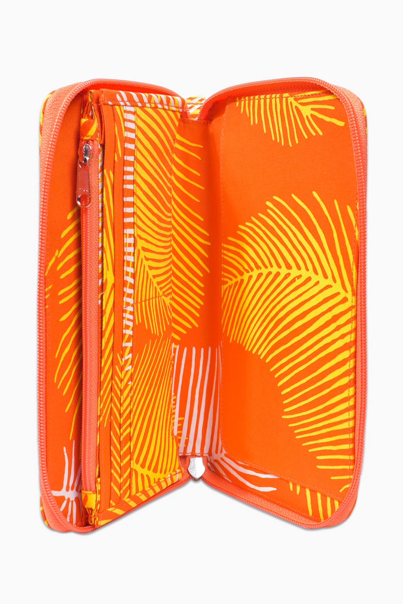 Orange, Yellow & White (Sunset) - Handmade Batik Passport Wallet - Palm Design