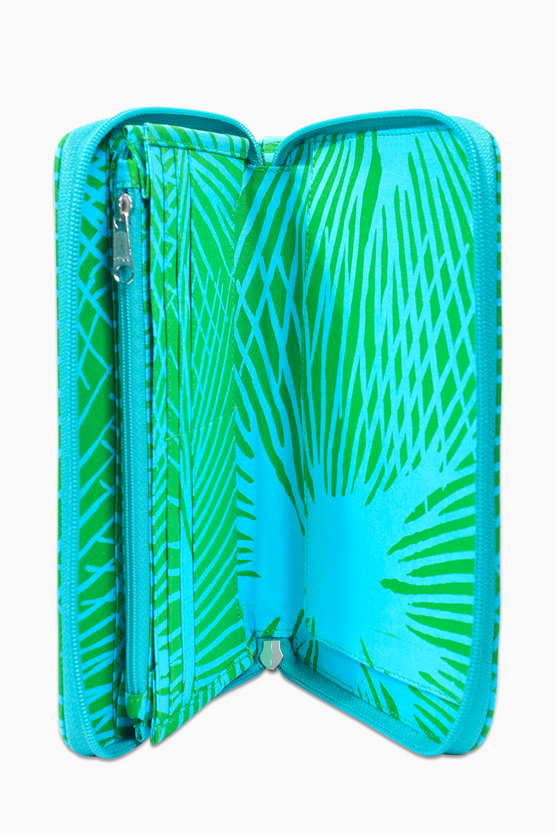 Green & Turquoise (Reef) -  Handmade Batik Passport Wallet - Starburst Design