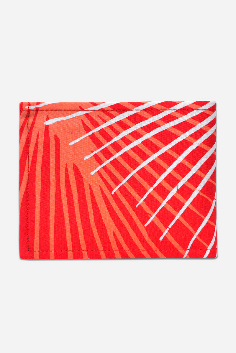Red, Orange & White (Pomegranate) - Handmade Batik Wallet - Starburst Design