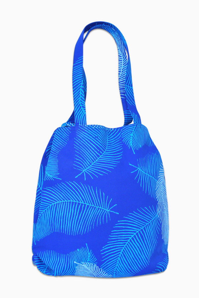 Blue & White (Sky) - Handmade Batik Tote Bag - Palm Design