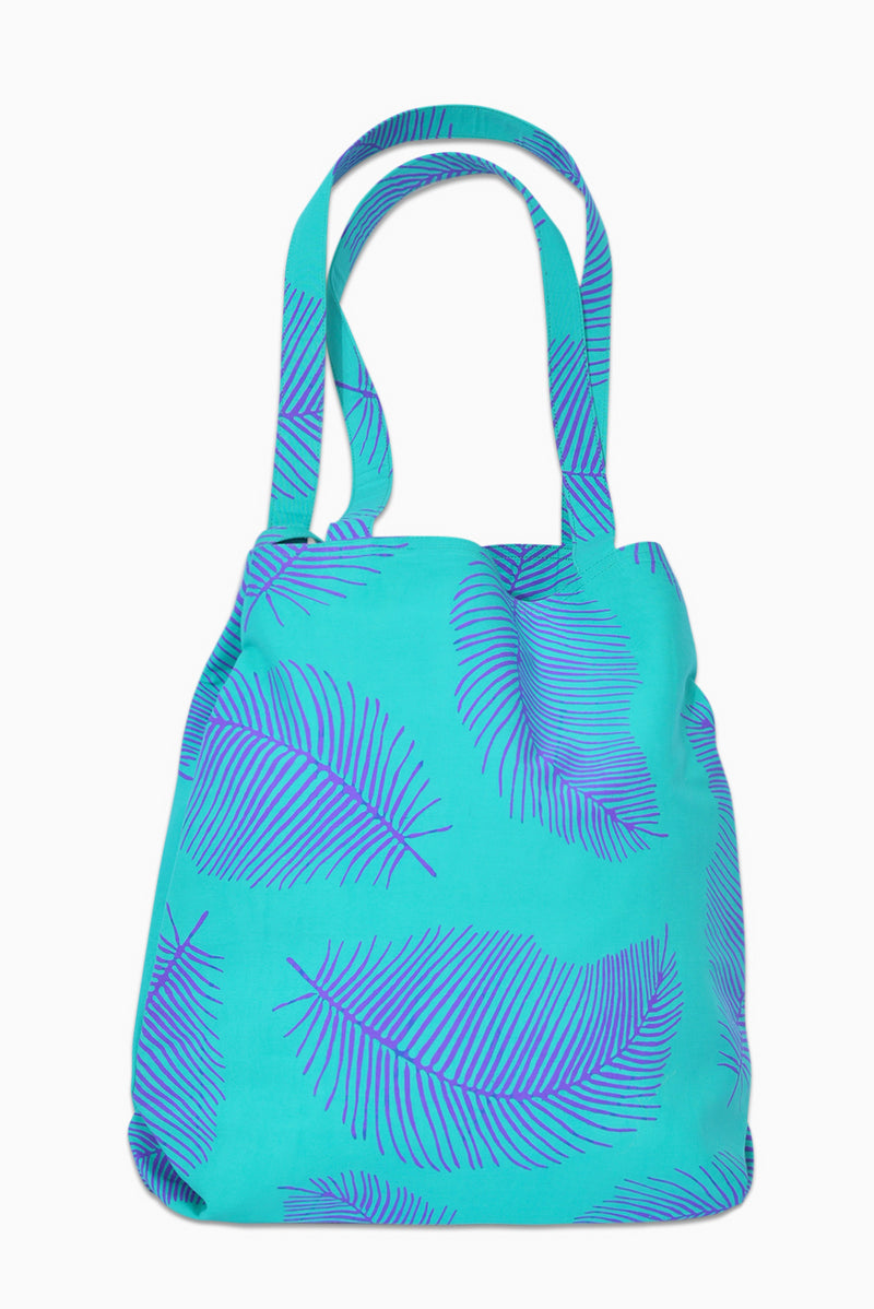 Turquoise & Purple (Hummingbird) - Handmade Batik Tote Bag - Palm Design