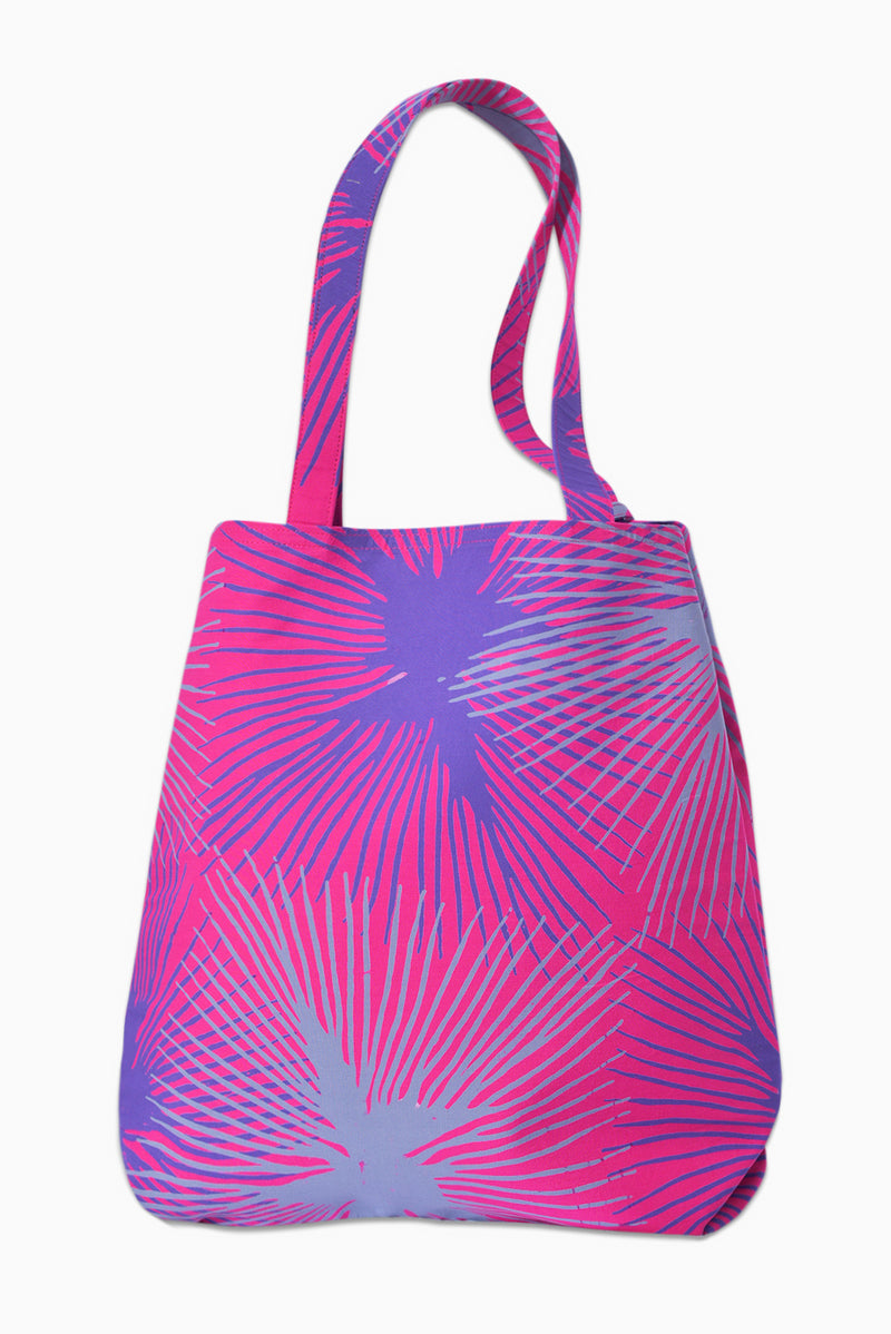 Pink, Purple & Grey (Bougainvillea) - Handmade Batik Tote Bag - Starburst Design