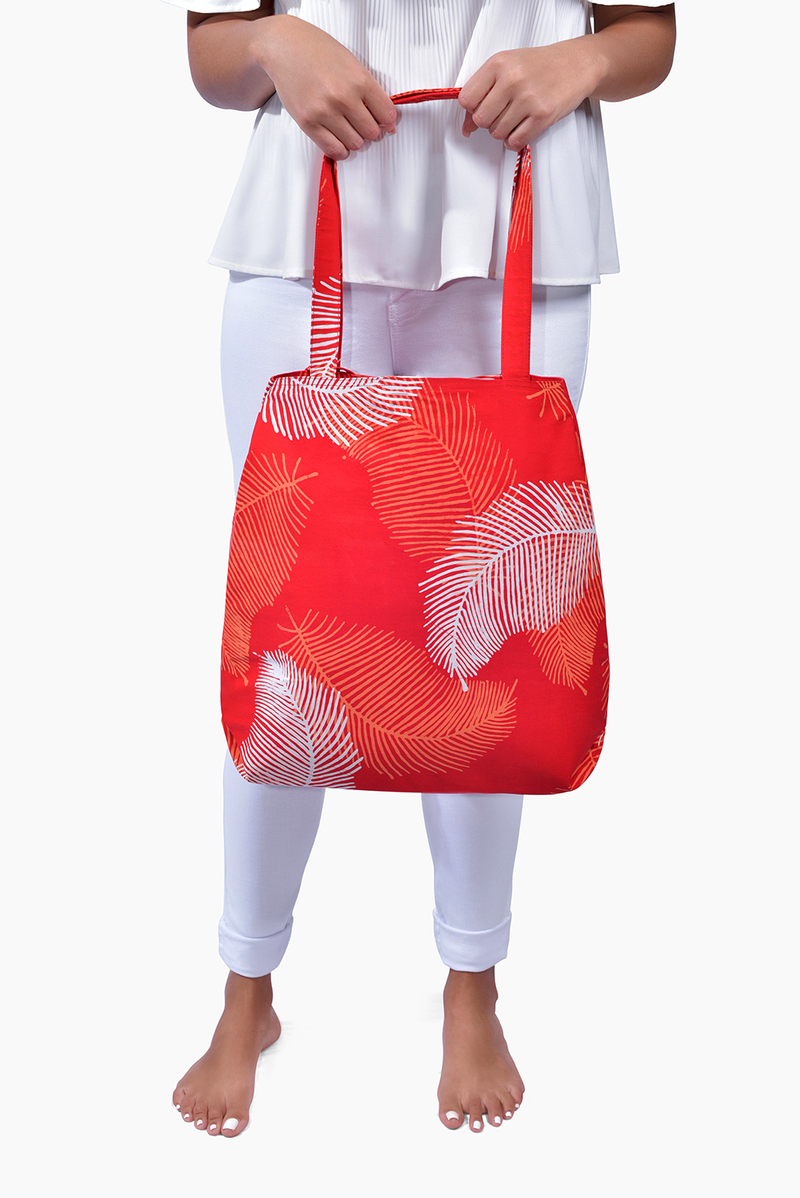 Red, Orange & White (Pomegranate) - Handmade Batik Tote Bag - Palm Design