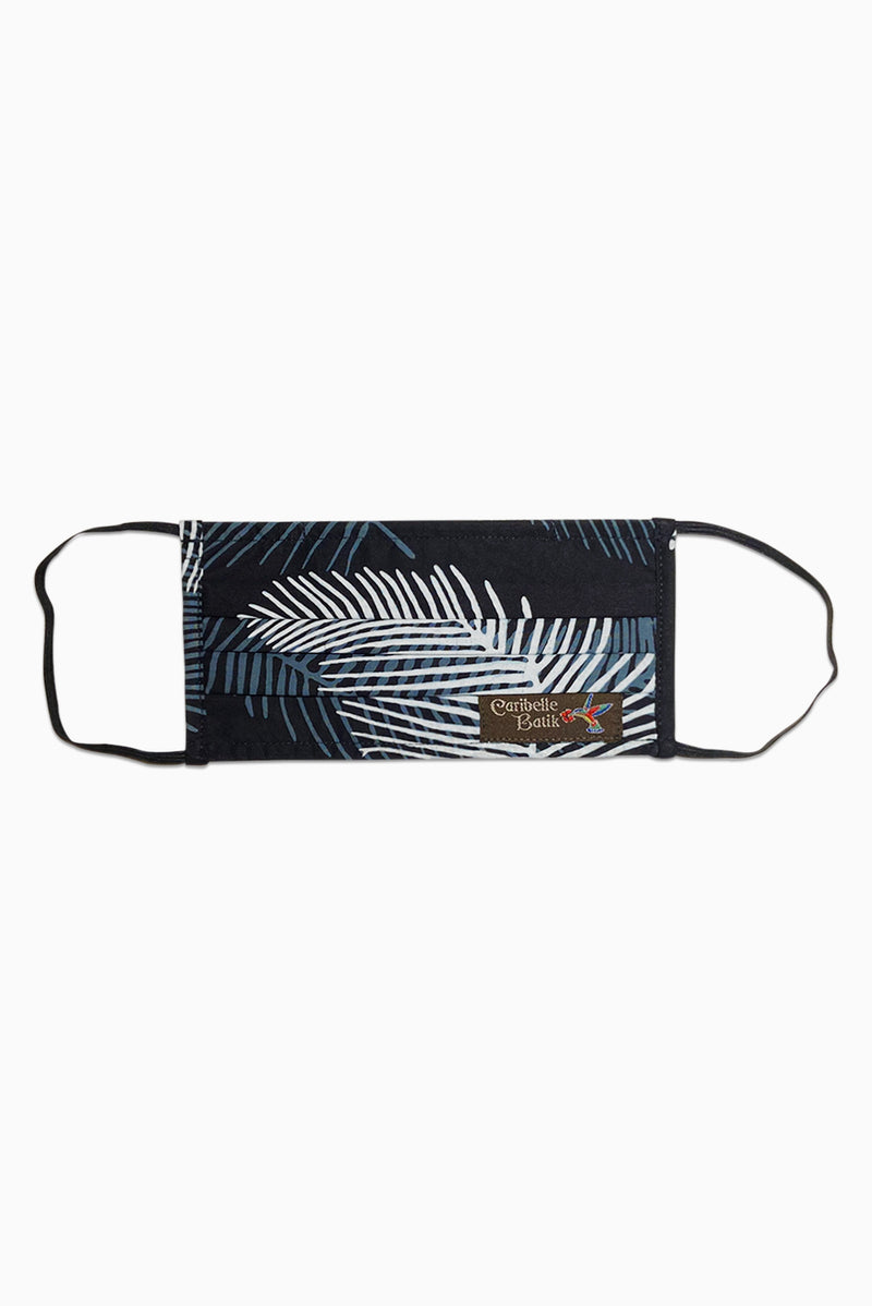 Navy & White (Obsidian) - Handmade Batik Reusable Face Mask - Palm Design