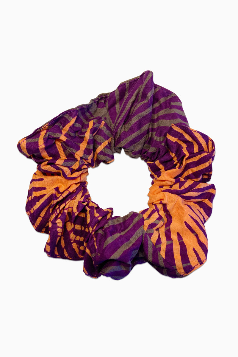 Purple, Grey, Coral (Dragonfruit) - Handmade Batik Scrunchie