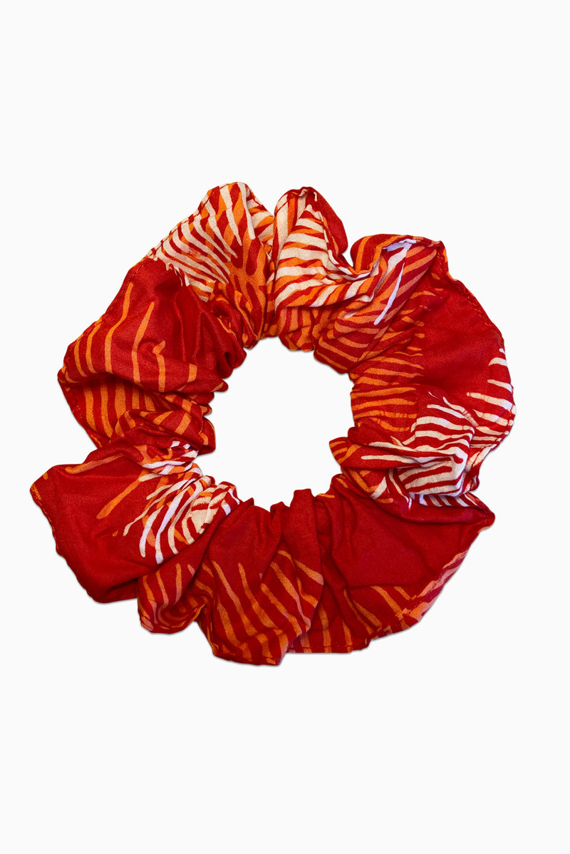 Red, Orange & White (Pomegranate) -  Handmade Batik Scrunchie