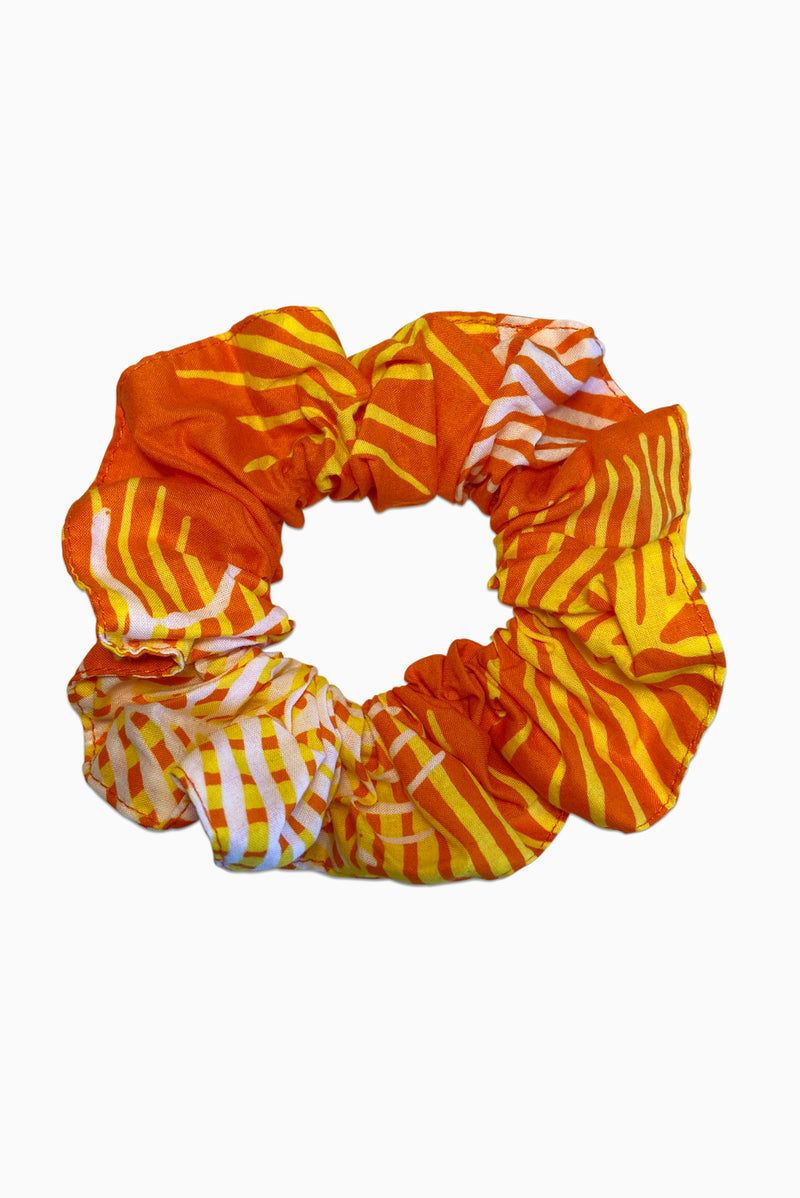 Orange, Yellow & White (Sunset) -  Handmade Batik Scrunchie