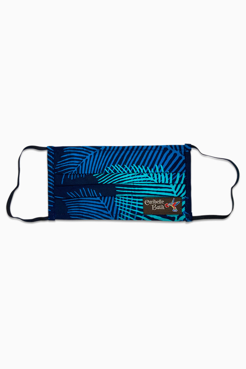 Navy & Turquoise (Ocean) - Handmade Batik Reusable Face Mask - Palm Design