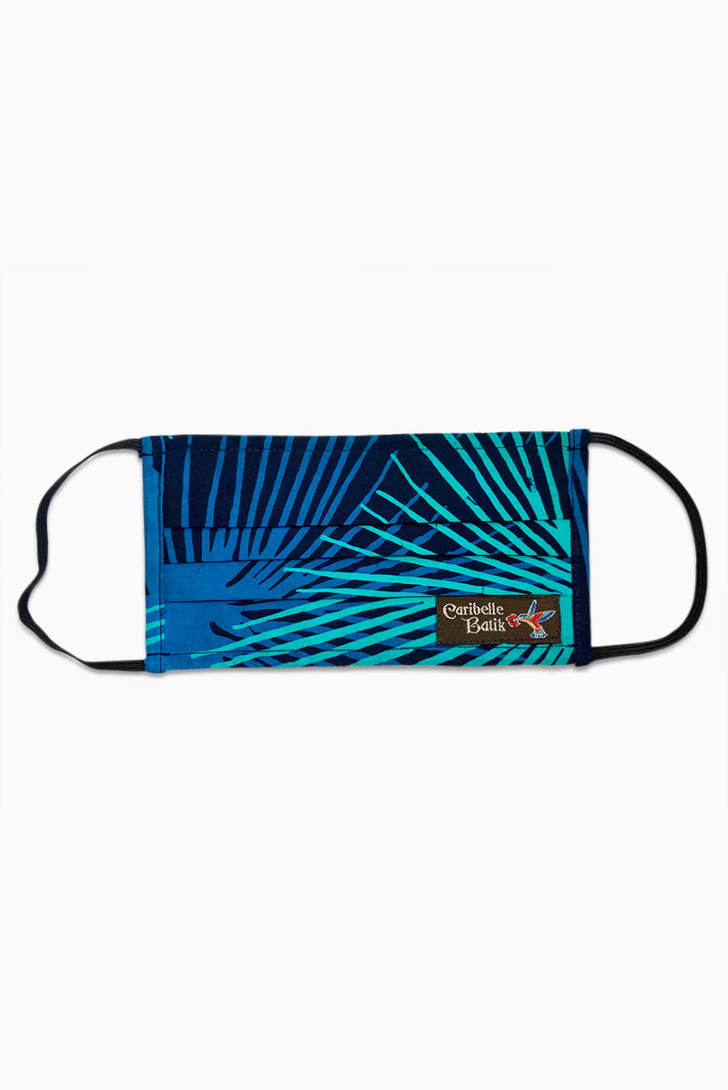 Navy & Turquoise (Ocean) - Handmade Batik Reusable Face Mask - Starburst Design