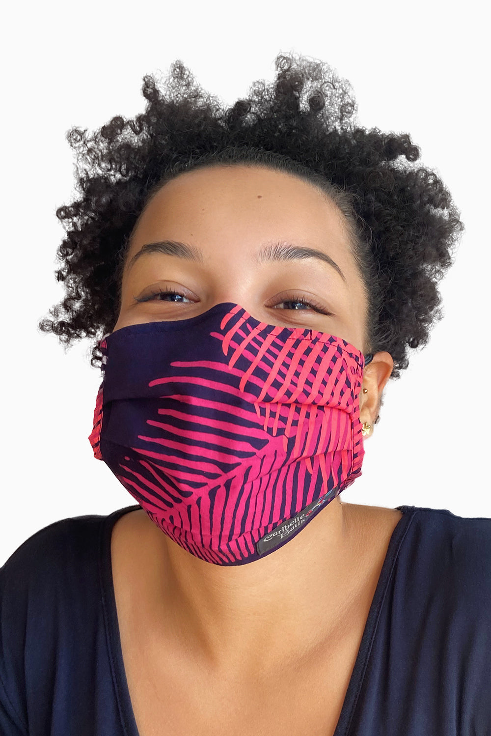 Pink & Purple (Fuchsia) - Handmade Batik Reusable Face Mask - Palm Design