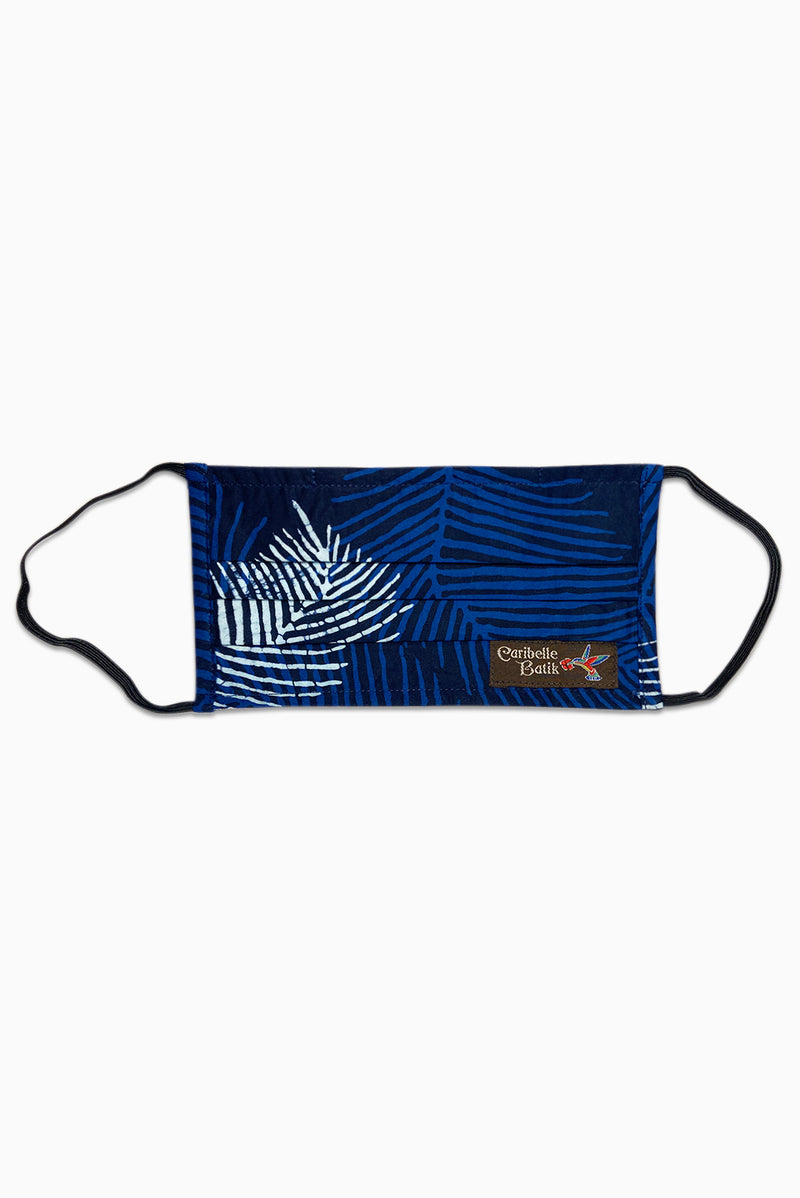 Navy & White (Bluetifful) - Handmade Batik Reusable Face Mask - Palm Design